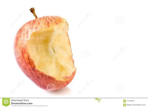 Red Apple With Missing Bite Stock Image - Image of closeup ...