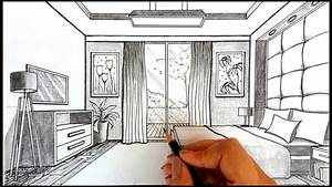 Drawing A Bedroom in One Point Perspective | Timelapse ...