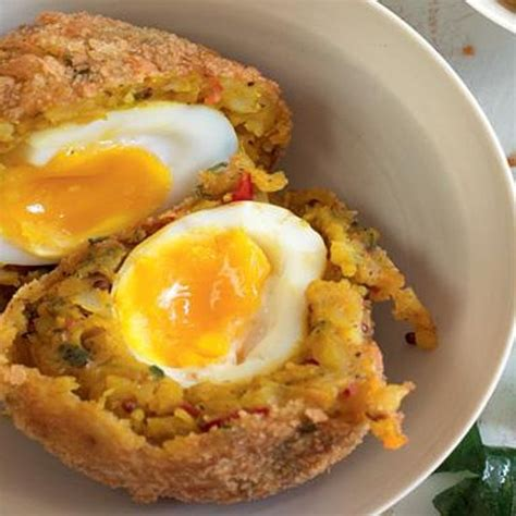 bombay potato scotch egg  happy foodie