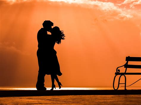 wallpaper kiss couple sunset silhouette  love