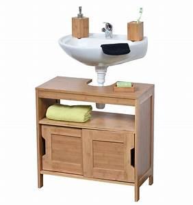 meuble sous lavabo en bambou 2 portes coulissantes le With porte de douche coulissante avec but meuble sous lavabo salle de bain