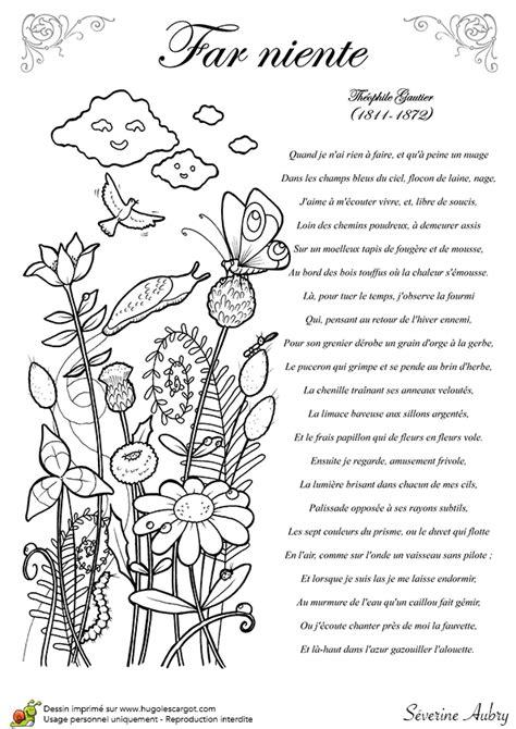 coloriage poesie le poeme  niente de theophile