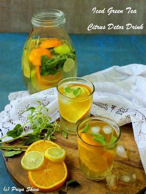 iced green tea citrus detox drink