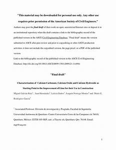 Pdf  Characterization Of Calcium Carbonate  Calcium Oxide  And Calcium Hydroxide As Starting