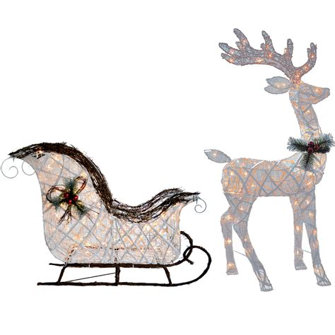 outdoor reindeer decorations pvc vine reindeer and sleigh 140 lights clear or white