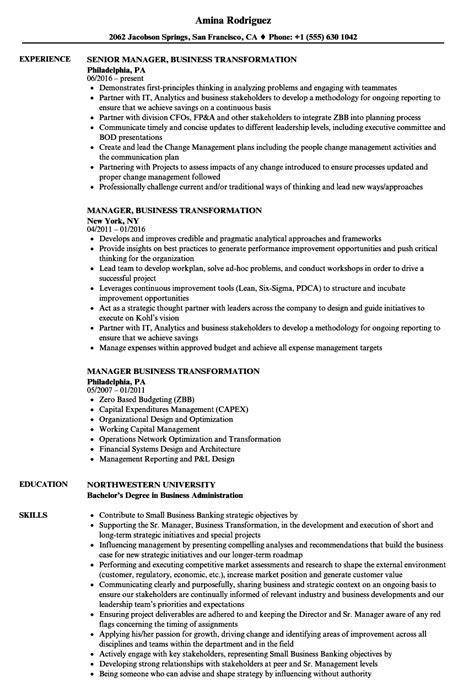 Manager, Business Transformation Resume Samples  Velvet Jobs