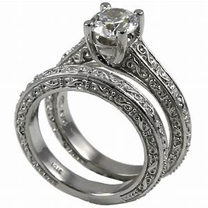 sterling silver antique style wedding set moissanite ring With antique style wedding ring sets