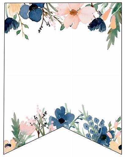 Banner Floral Printable Blank Letters Shower Flower