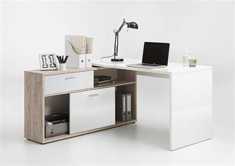 bureau basika bureau d 39 angle diego up chene blanc brillant