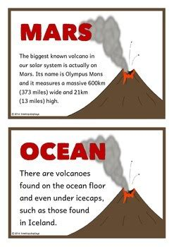 volcanoes fact cards  treetop resources teachers pay