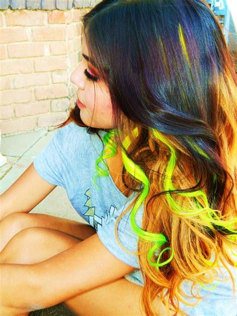 Neon Ombre Clip In Human Hair Extensions Dip Dye Tye Dye