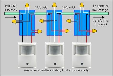 how to wire 2 or more motion sensors to the same lights