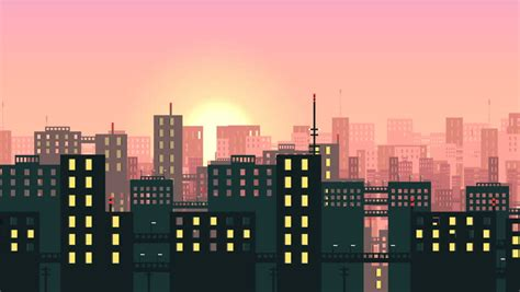 flat cartoon panoramic city day looped animated background