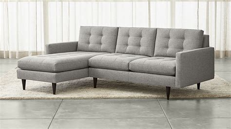 crate and barrel petrie leather sofa petrie 2 left arm chaise sectional sofa jonas felt
