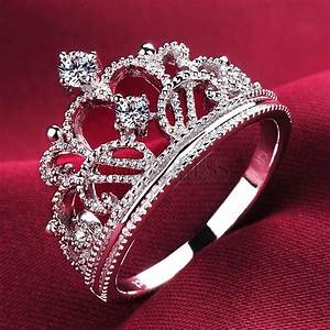 escvd 05 ct pt 950 romantic crown design 925silver ring With crown design wedding rings