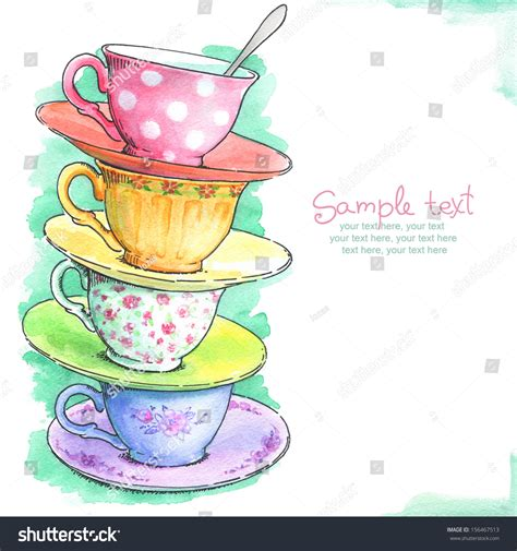 card painted watercolor tea cups stock illustration