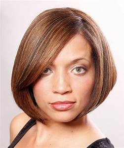 Medium Straight Copper Brunette Bob Haircut with Side ...