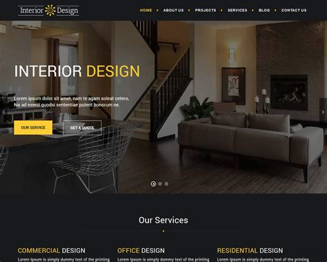 eye catching interior design website templates