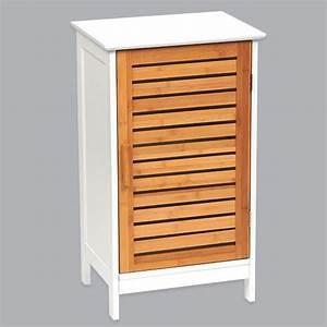 Meuble Bas Bois : meuble bas de salle de bain bakou bois bambou eminza ~ Teatrodelosmanantiales.com Idées de Décoration