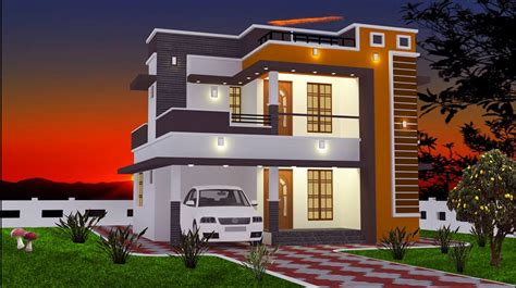 courtyard house plans 2 bhk modern floor budget home design at 965 sq ft