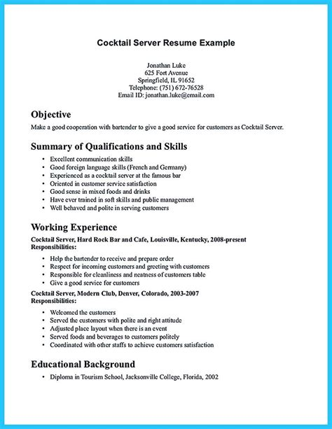 18663 bartending resume templates impressive bartender resume sle that brings you to