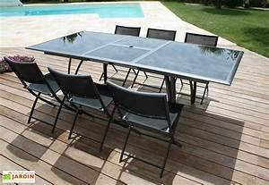 Table De Jardin Aluminium Jardiland : salon de jardin en aluminium noir mat table rallonge 6 ~ Melissatoandfro.com Idées de Décoration