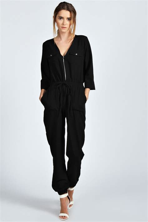 womens jumpsuits boohoo womens utility 3 4 sleeve woven jumpsuit