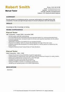 Manual Tester Resume Samples
