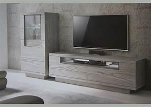 Meuble Tele Gris : acheter votre meuble tv contemporain bois gris 2 portes 1 niche chez simeuble ~ Teatrodelosmanantiales.com Idées de Décoration