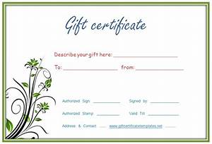 Gift certificat templates new calendar template site for Fillable gift certificate template free