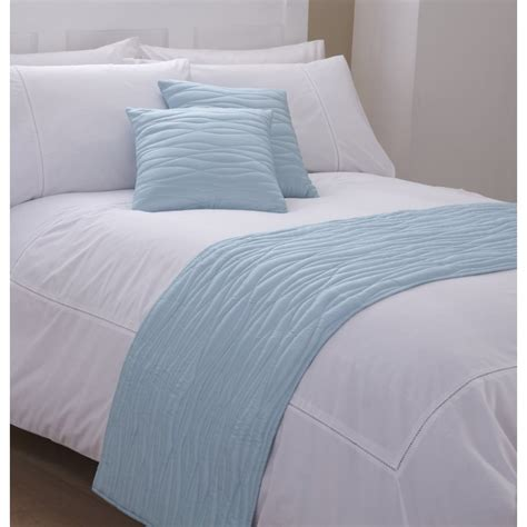 Bed Runner And Cushion Cover In Light Blue