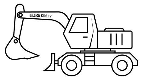 Colors Car And Excavator Truck Coloring Pages For Kids