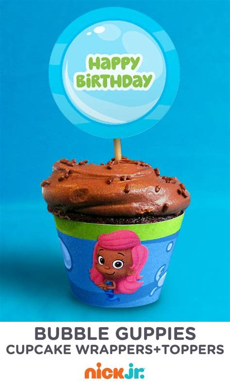 bubble guppies cupcake wrappers and toppers bubble