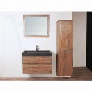 Meuble De Salle De Bain Avec Miroir : saniclass natural wood meuble salle de bain avec miroir 80cm supsendu grey oak avec vasque en ~ Nature-et-papiers.com Idées de Décoration