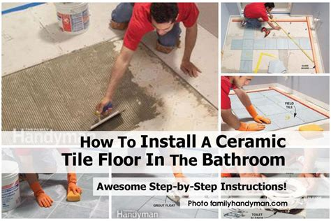 how to install a ceramic tile floor in the bathroom