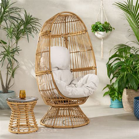 This page contains affiliate links. Adaline Outdoor Wicker Swivel Egg Chair with Cushion, Light Brown, Beige - Walmart.com - Walmart.com
