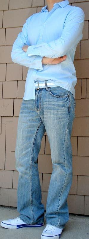 Blue Dress Shirt Blue Ribbon Belt Light Blue Jeans White Shoes - Menu0026#39;s Fashion For Less