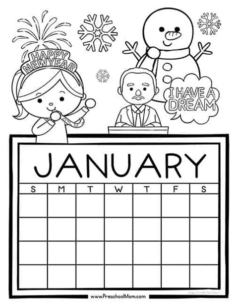 preschool monthly calendar printables