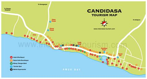 detail candidasa location map  tourists bali weather