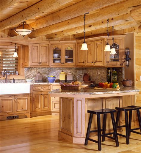 cabin style kitchen cabinets cabin kitchens real log style