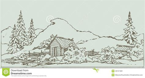 chalet style house plans vector drawing ancient rural landscape stock vector
