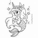 Mermaid Coloring Pages Unicorn Mermaids Printable Minds Sparkling sketch template