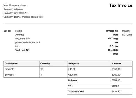 irish vat invoice template   formtemplate