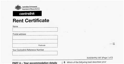 19245 rental assistance form corporate australia centrelink rent certificate form su523