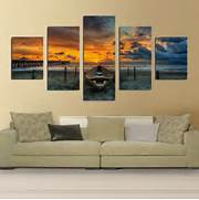 Living Room Canvas Art by Print Art Canvas Painting Unframed 5 Piece Large HD Seaview Boat For Living R