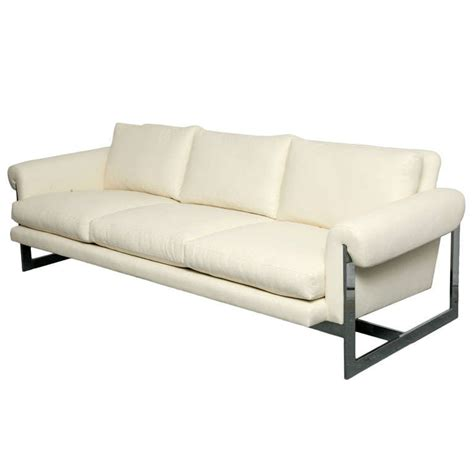 white sofas for sale white leather sofa with chromed metal frame for sale at