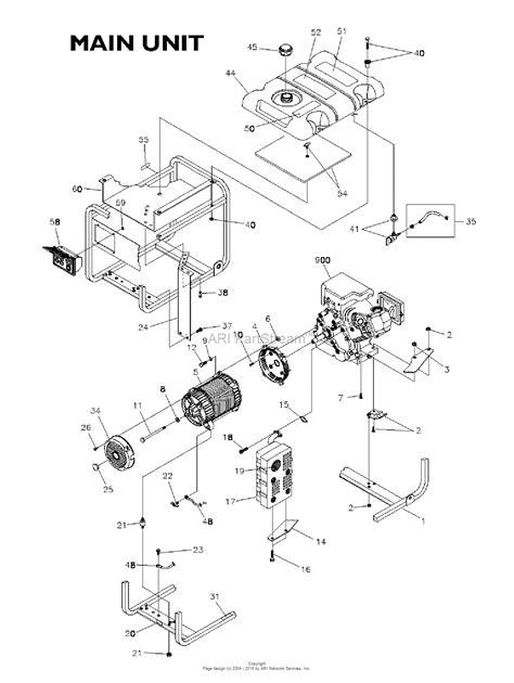 Snapper G56000 5600 Watt 10 Hp Generator (0302151) Parts Diagram For Generator Main Unit