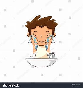Child Washing Face Stock Vector 508871488 - Shutterstock