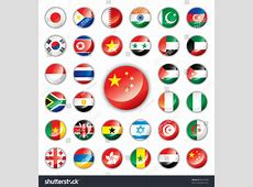 Glossy Button Flags Asia Africa 32 Stock Vector 56610934