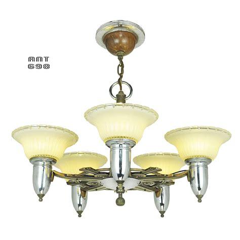 deco streamline style chandelier antique 5 light